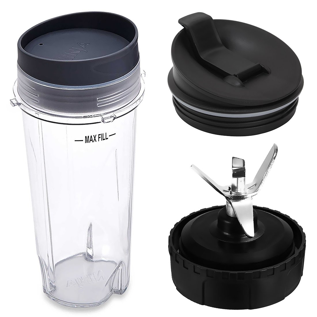 Pard Replacement Parts for Nutri Ninja Blender, Replacement Blade Assembly with 6 Fins on Bottom, 16 oz Cup with Lid and Seal Lid for Nutri Ninja Blender System BL770 BL771 BL773CO.