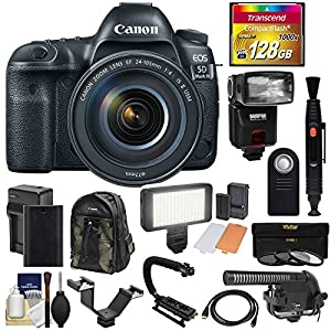 Canon EOS 5D Mark IV 4K Wi-Fi Digital SLR Camera & EF 24-105mm f/4L IS II USM Lens with 128GB Card + Battery & Charger + Backpack + Flash + LED Light + Microphone + Kit