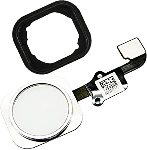 Johncase OEM Home Button Flex Ribbon Cable Assembly w/Rubber Gasket Replacement Part Compatible for iPhone 6/6 Plus (Silver)