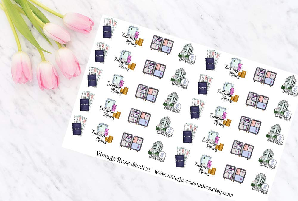 Personal /& Pocket Planners Notebook Planner Stickers Mixed Travel Set 2 Functional Planner Sticker Sheets for Erin Condren Planners