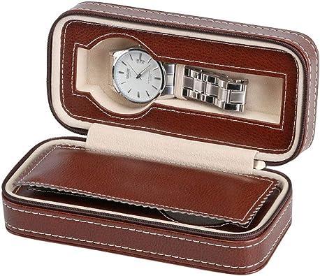 EASTVAPS Caja de Reloj con Cremallera Bolsa Bolsa de Transporte de Almacenamiento de Reloj de Cuero: Amazon.es: Joyería