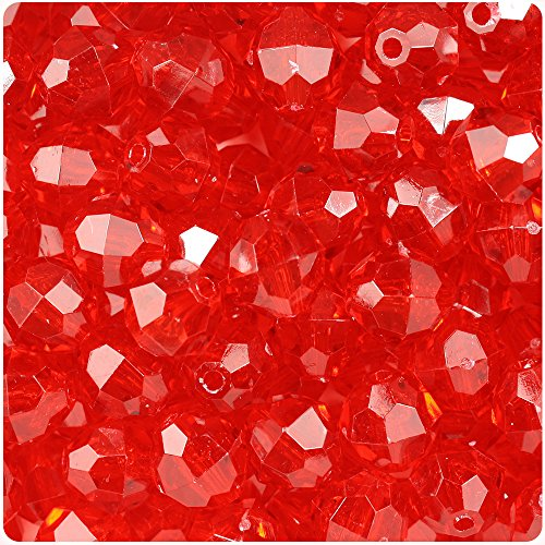 (BeadTin Ruby Transparent 12mm Faceted Round Craft Beads (150pcs))