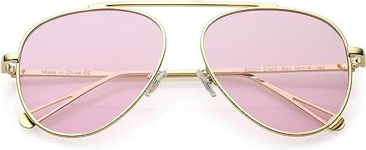 Modern Thin Metal Frame Brow Bar Colored Mirror Lens Round Sunglasses // zeroUV