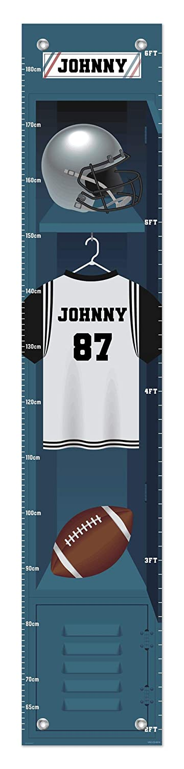 Sports Growth Chart Football Locker Custom Name Gifts for Kids Room Decor Personalized Growth Chart