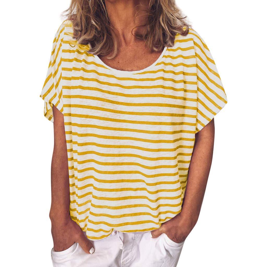 Keliay Cute Womens Tops Summer,Women Summer Casual Printed Striped O-Neck Short Sleeve Top Blouse Yellow