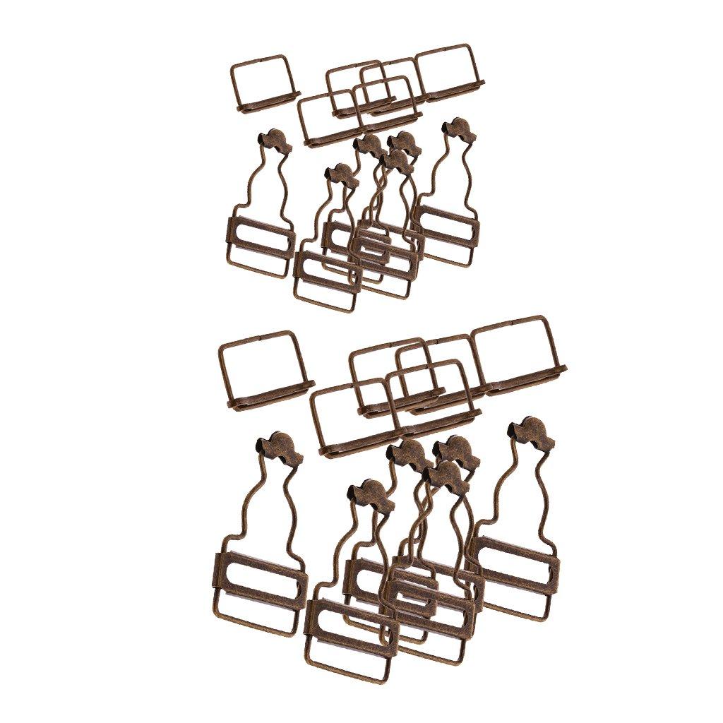 Clips de Dungaree avec Boucle Rectangle pour Bretelles et Sangles Attaches pour Combinaisons et Tablier Robes Homyl 12Set Boucles de Bretelles en M/étal