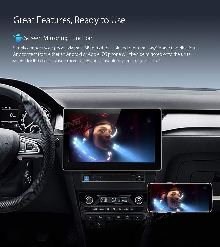 1080P Video USB SD XTRONS 10.1 Inch Double Din Android 8.1 Universal Car Stereo Radio Player HD Digital Multi-touch Screen Bluetooth Head Unit Car Radio Multimedia Player Supports Wifi GPS OBD DAB