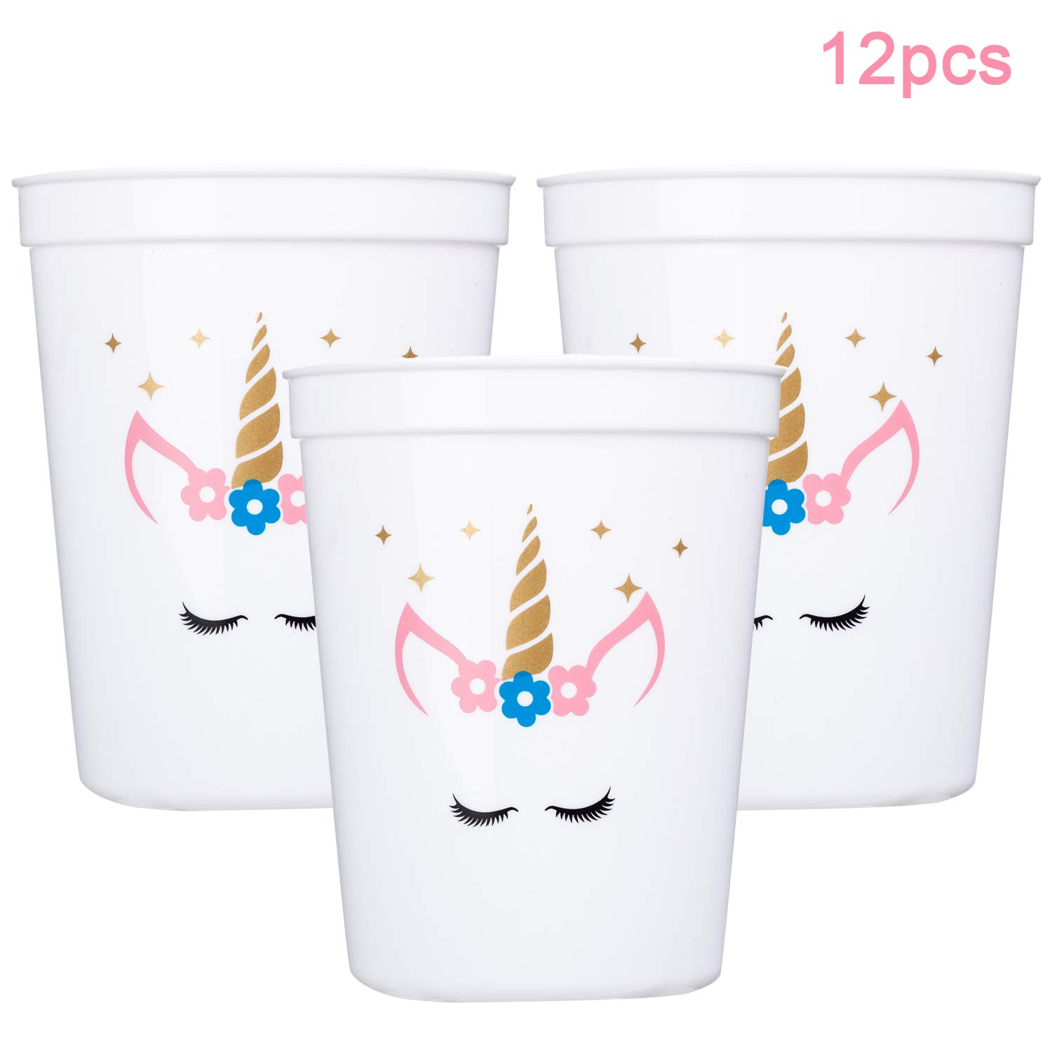 MISS FANTASY Unicorn Cups Unicorn Party Supplies Favors Magical Party Sparkle Keepsake Cups for Girls Plastic Cups 12 OZ Pack of 12 Packed with White Paper Box (White)