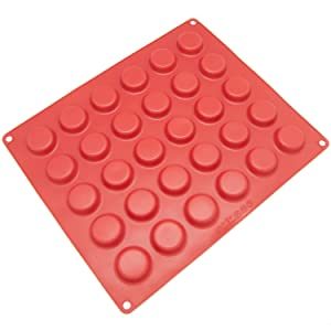 Freshware Silicone Mold, Chocolate Mold, Candy Mold, Ice Mold, Soap Mold for Chocolate, Candy and Gummy, Round, 30-Cavity
