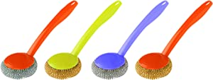 Kitchen Metal Sponge with Handle - Pack of 4 - Stainless Steel Wool Scrubber Dish Cleaner