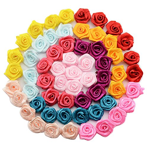 100pcs/lot Handmade 15mm Satin Rose Ribbon Rosettes Fabric Flower DIY Wedding Decor Bow Appliques Craft Sewing Accessories