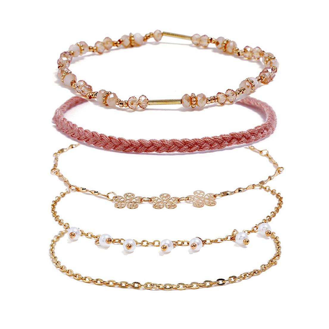 Flower Pearl Bracelet 5-Piece.