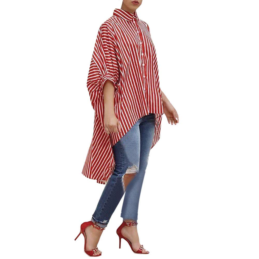 friendGG Women Cotton Striped Three Quarter Sleeve Shirt Casual Loose Blouse Button Tops Tunic Top Long Shirt Ladies Sweatshirt Hoodie Jumper Asymmetrical Coat Pullover