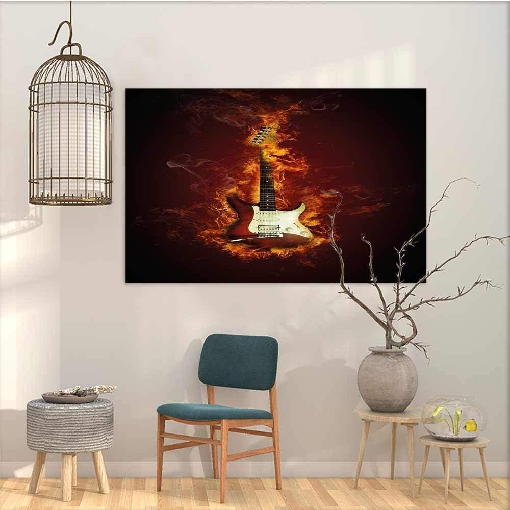 Pegatina para Guitarra Eléctrica en Llamas Ardiente Fuego Roca Música Creatividad Concepto Oficina Arte Decoración Granate Naranja Negro W35 xL23
