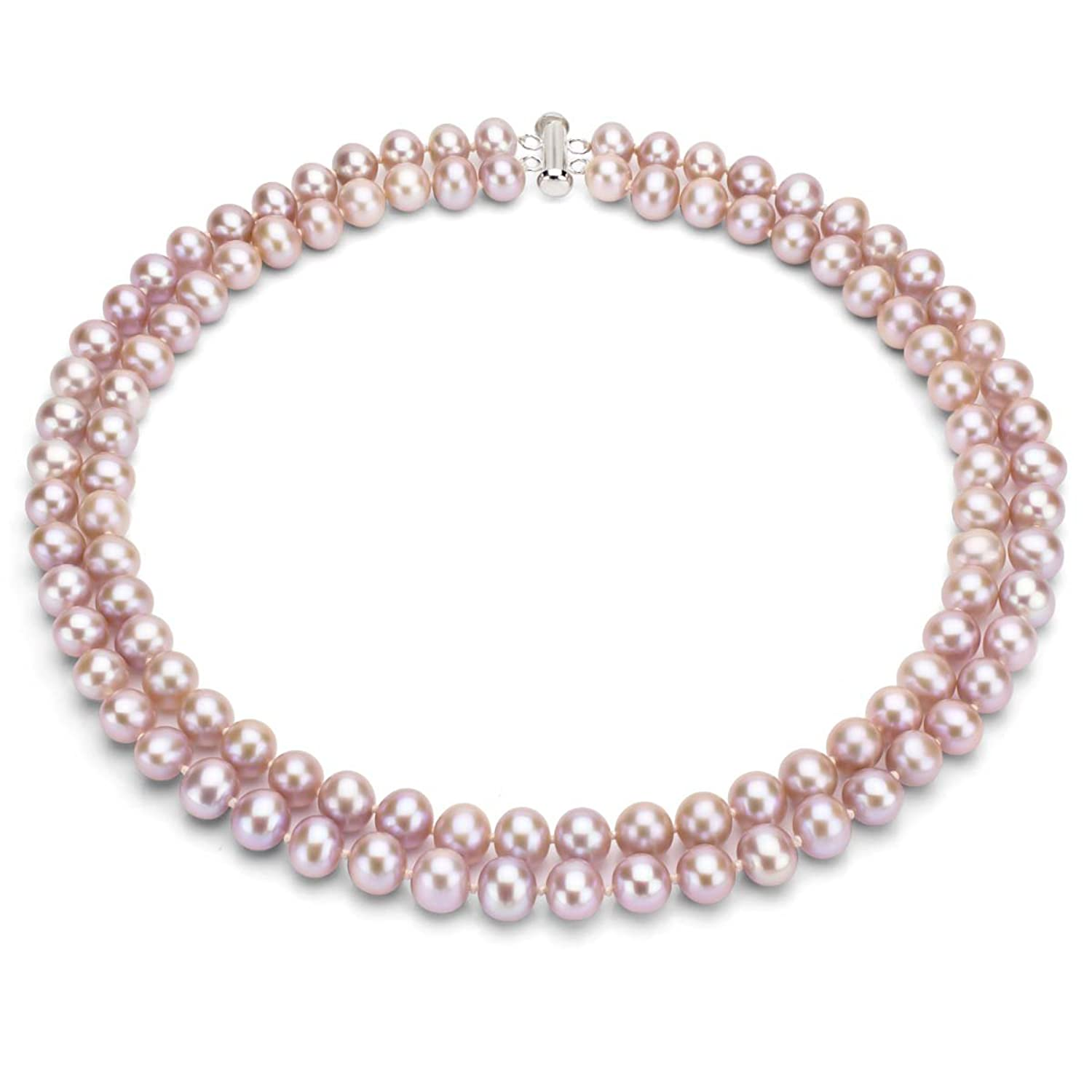 Sterling Silver 2-rows Pink Freshwater Cultured High Luster Pearl Necklace, 17""