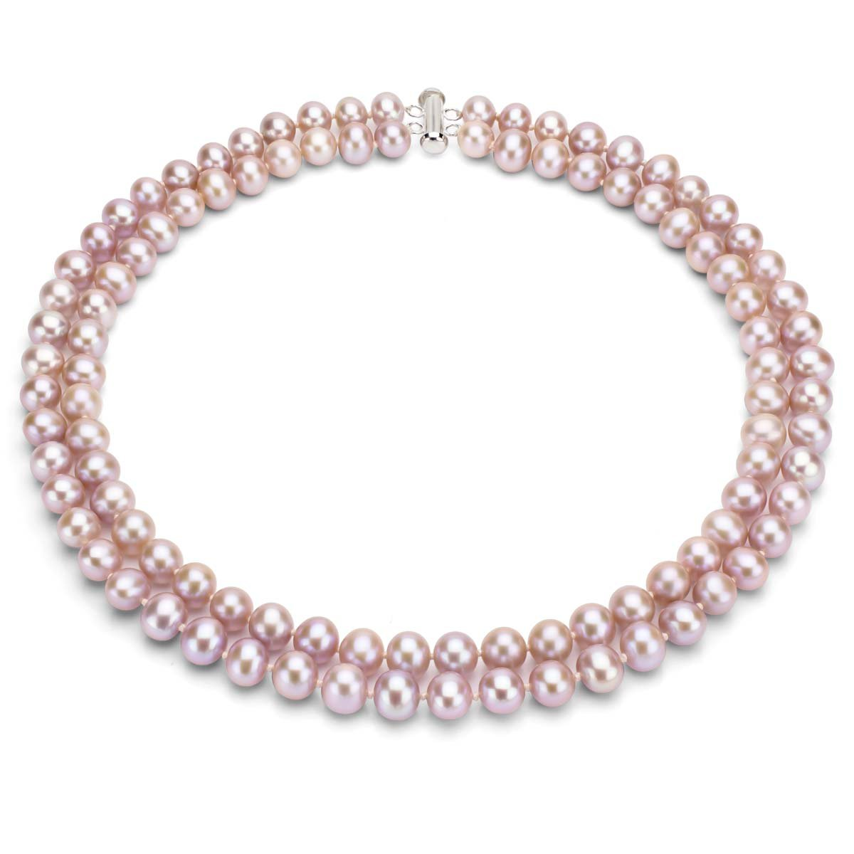 Sterling Silver 2-rows 7-7.5mm Pink Freshwater Cultured High Luster Pearl Necklace, 17''
