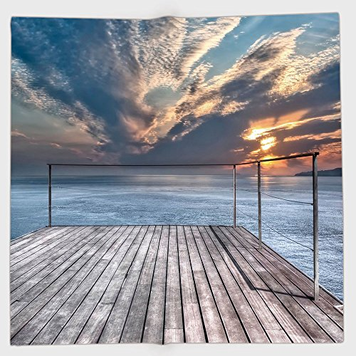 Cotton Microfiber Hand Towel,Travel Decor,Ocean Sea View Terrace Balcony During Sunset Dawn Image,Light Brown Grey and Sky Blue,for Kids, Teens, and Adults,One Side ()