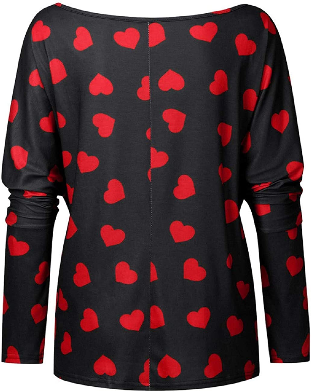 FAPIZI Women Valentines Day O Neck Letter Print Blouse Solid Short Sleeve Casual T-Shirt Loose Sweatshirt Top