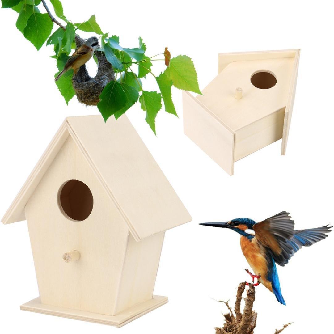 LCLrute 2018 Nest-Dox-Nest-Haus-Vogel-Haus-Vogel-Haus Kreatives Wandbehang hölzernes Vogelnest und Vogelhaus im Freien (A/14x8.5cm)