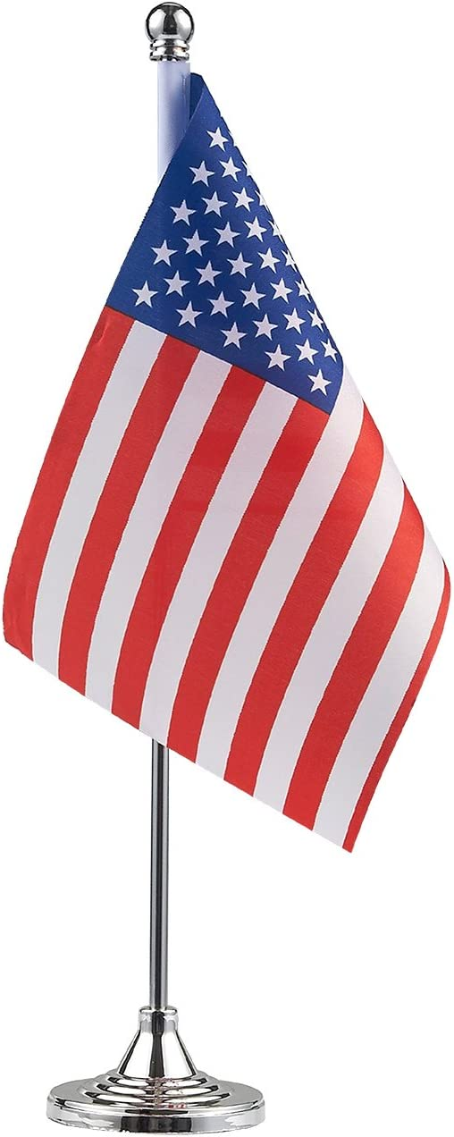 Juvale Miniature American Flag Table Desktop Decor (13 Inches, 4-Pieces)