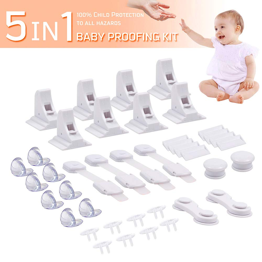 Baby Proofing Kit 8 Child Safety No Drilling Cabinet Locks ...