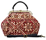 Carpet bag ESCULAP Treillage Red Large Classic framed ''Doctor'' Gladstone Carpet handbag