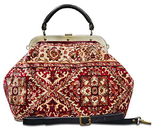 Carpet bag ESCULAP Treillage Red Large Classic framed ''Doctor'' Gladstone Carpet handbag by CARPET BAGS from MADE OF CARPET