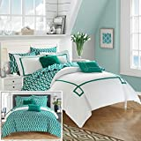Chic Home CS2946-AN 9 Piece Trace Contemporary Greek Key Embroidered Reversible Bed In A Bag Comforter Set With Sheet Set, Queen, Aqua
