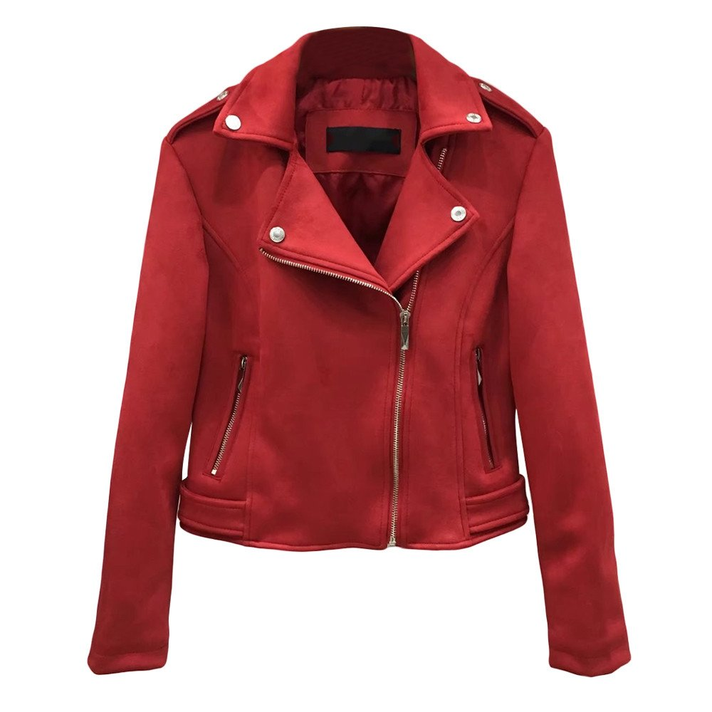 Amacok Retro Soft Suede Leather Short Moto Jacket Women Slim Fit Coat Zipper Lapel Outwear (Red, L)