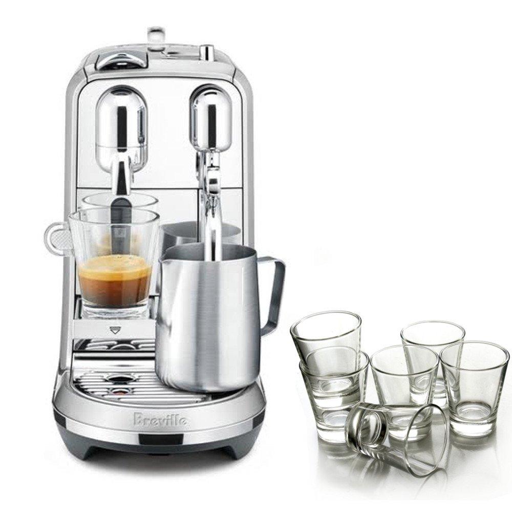 Breville Nespresso Creatista Plus Stainless Steel Espresso Maker with 6 Piece Espresso Glass Set