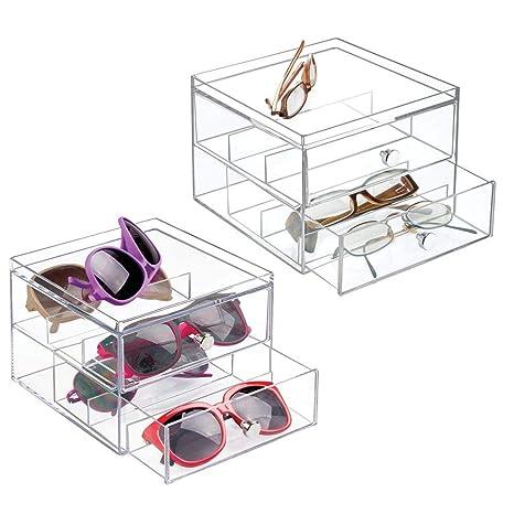 mDesign Juego de 2 Organizador de Gafas de Sol y de Leer con 2 cajones – Cajonera de plástico para Guardar Gafas – Guarda Gafas Ideal como joyero u ...
