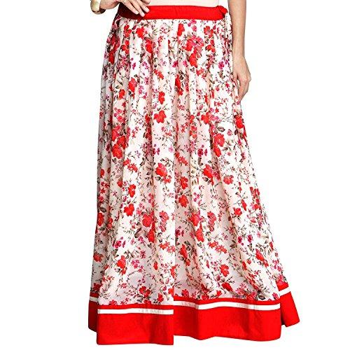 Cream Skirt Red and Admyrin Georgette Women Export Indian Handicrfats 8H1Ivv