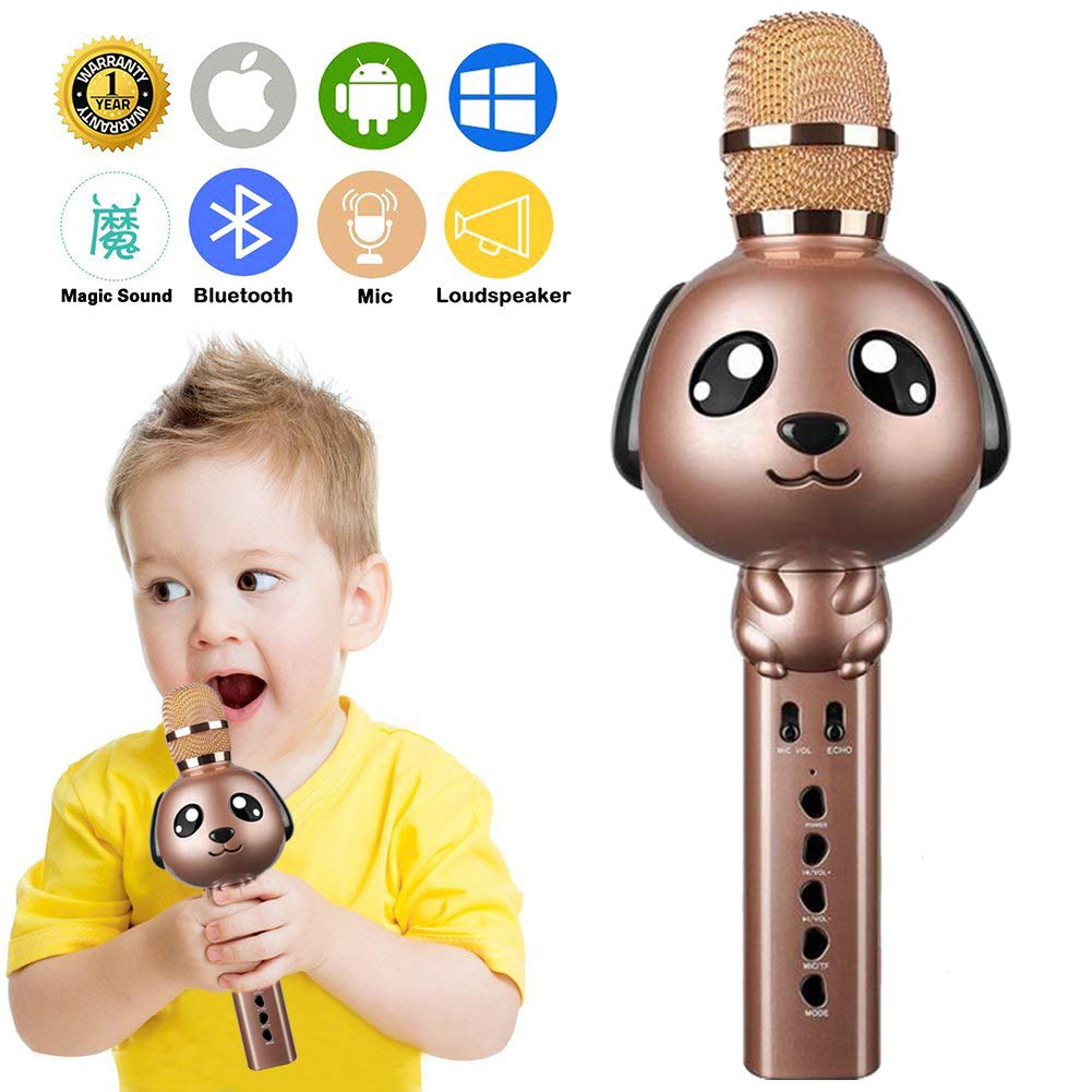 Wireless Karaoke Microphone for Kids Bluetooth Mic Portable Handheld Karaoke Machine for Kids Singing KTV Parties Boys Girls Parties Christmas or Birthday Gifts Toys iPhone Android PC (Rose Gold)