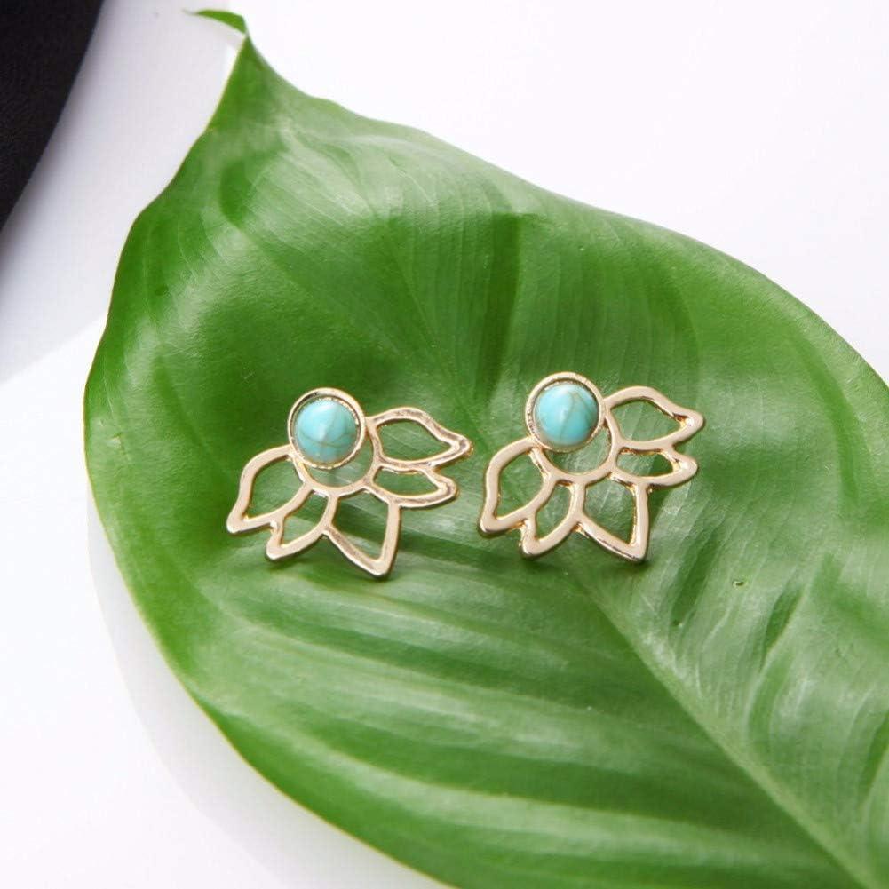 SSEHL Pendientes Joyería de Moda de Color Oro Plata Pendientes Florales Hollow Stud para Las Mujeres Pendientes de Piedra Natural Verde Stud Regalo