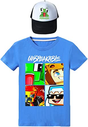 N/F Unspeakable Sudadera Tops Moda Niños Divertido YouTube Gamer Girls Camiseta y Sombrero para Niños