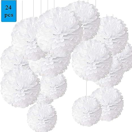 Imagen dePompon de Papel de Seda, Blanco Bolas de Papel en Forma de Flor para Fiestas de Cumpleanos, Bodas, Baby Shower, Shower de Novia o Decoracion de Festivales