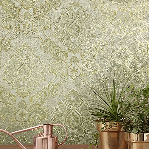 113.52 sq.ft rolls PASTE THE WALL ONLY Embossed Slavyanski wallcoverings baroque vintage damask pattern Vinyl Non-Woven Wallpaper ivory gold metallic silver sparkles textured roll 3D modern coverings