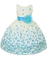 100% Cotton Floral Spring Easter Flower Girl Dress in Fuchsia Aqua Orange 2-12