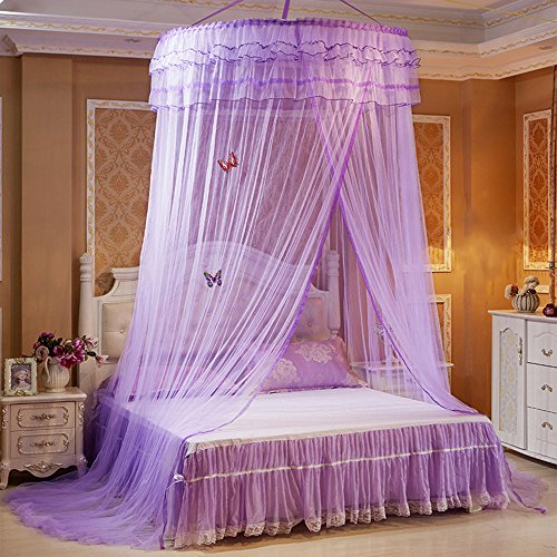 Guerbrilla Luxury Princess Pastoral Lace Bed Canopy Net Crib Luminous butterfly, Round Hoop Princess Girl Pastoral Lace Bed Canopy Mosquito Net Fit Crib Twin Full Queen Extra large Bed (purple)