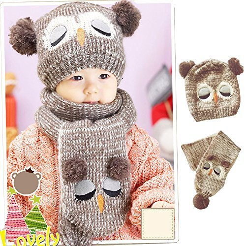Kids Winter Beanie Warm Owl knit Scarf Hats Skull Caps Sets for Baby Boys Girls