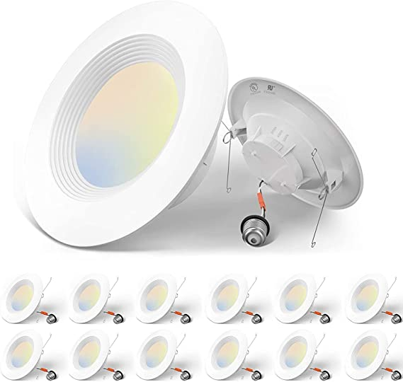 Amico 5/6 inch 3CCT LED Recessed Lighting 12 Pack, Dimmable, Damp Rated, 12.5W=100W, 950LM Can Lights with Baffle Trim, 3000K/4000K/5000K Selectable, Simple Retrofit Installation, UL