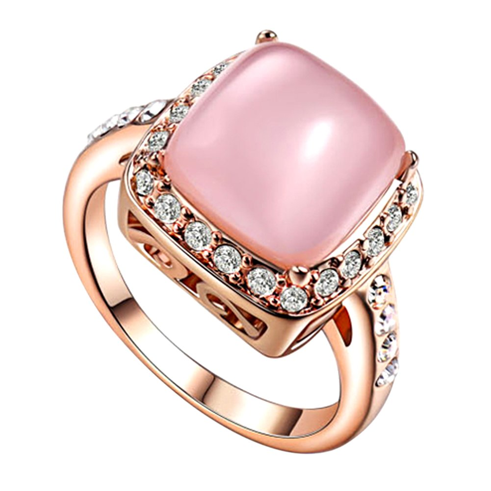 Yoursfs Halo Pink Opal Stone Diamante Rings for Women Party Fashion ...