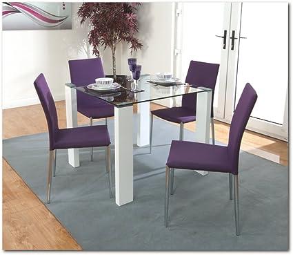 The One Blanco Juego de Mesa de Comedor 90 cms x 90 cms con 4 Morado Tela Estructura de Cromo sillas – Juego de Comedor Cuadrada – Mueble de Comedor: Amazon.es: Hogar