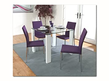 Attirant The One Blanc Ensemble De Salle à Manger Table 90 Cms X 90 Cms Avec 4 ...
