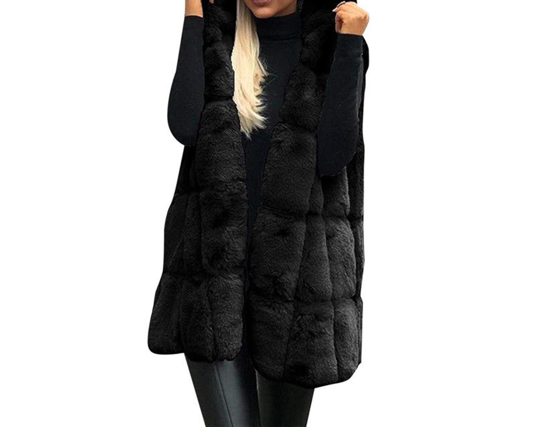 Functionaryb Cappotto Invernale Donna con Cappuccio soffice Cappotto di Pelliccia in Pile Top Allentati Copertura delle Signore Gilet Faux Fur Giacca Lunga Giacca Outwear Plus Size