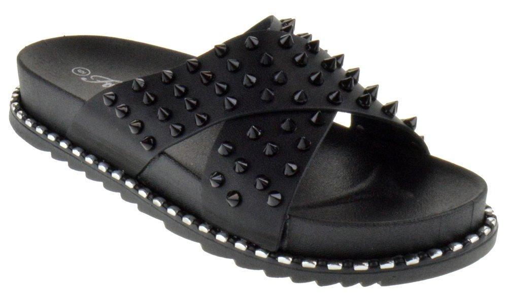 Forever Goth 03 Womens Comfort Studded Strappy Slide Platform Sandals Black 10