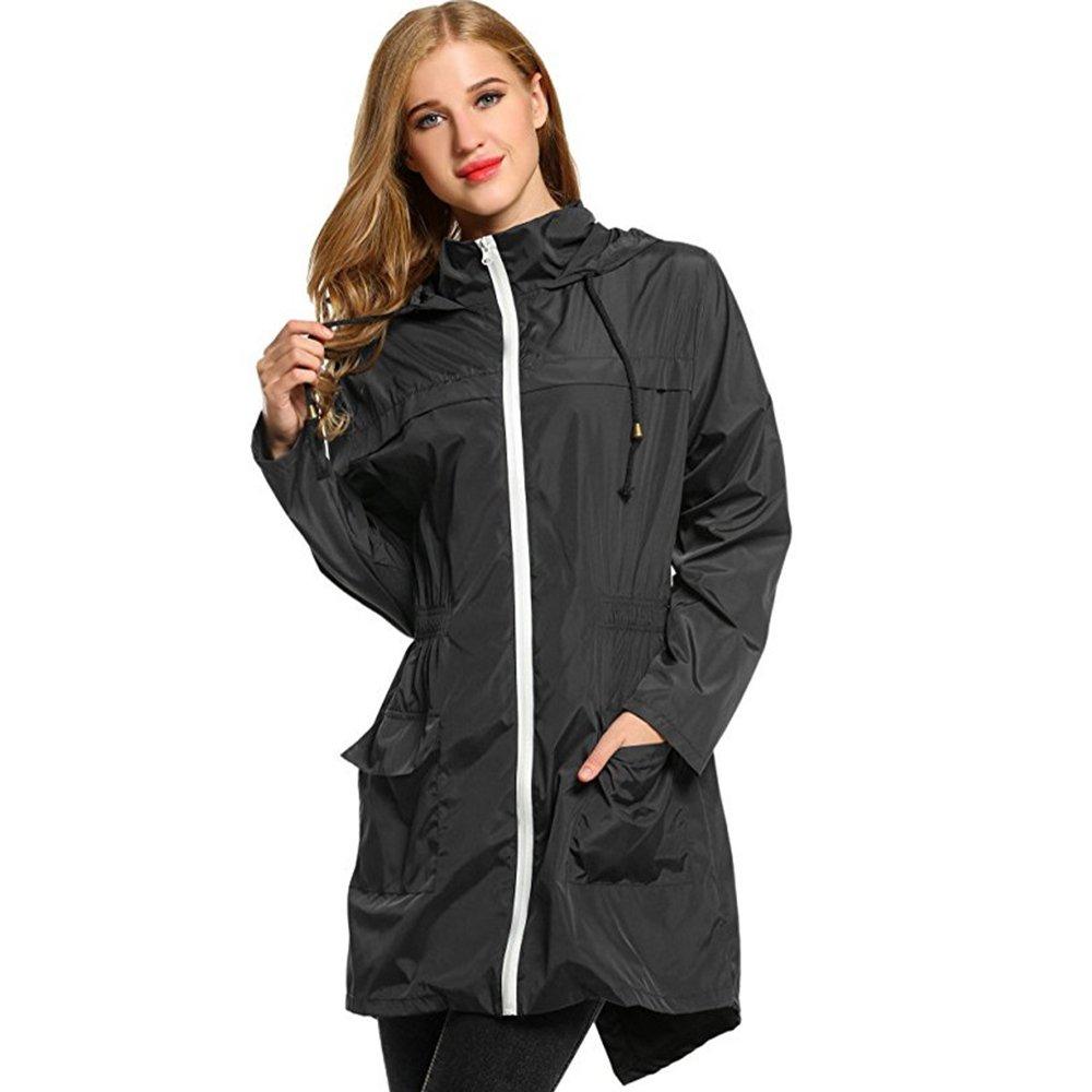 Aihifly tragbar Schwarzer Regenmantel mit Kapuze mit Kordelzug Damenmantel mit Regenmantel Windbreaker mit langem Regenmantel (Größe   M)