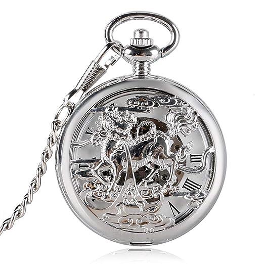 Reloj de Bolsillo Vintage con diseño de dragón de Esqueleto para Hombre, Estilo Chino, Reloj de Bolsillo mecánico de Mano, Regalo - Jlyshop: Amazon.es: ...