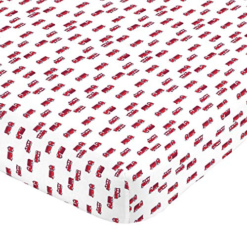 Carter's 100% Cotton Sateen Fitted Crib Sheet - Firetruck, Red, White ()