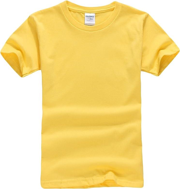Jueshanzj Basic Tee - Camiseta de algodón de manga corta para niño amarillo X-Small(110 cm): Amazon.es: Ropa y accesorios